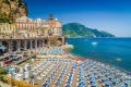 Atrani on the Amalfi Coast, featuring several of its beach clubs.