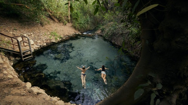 Natural thermal springs on the banks of the Katherine River, NT.