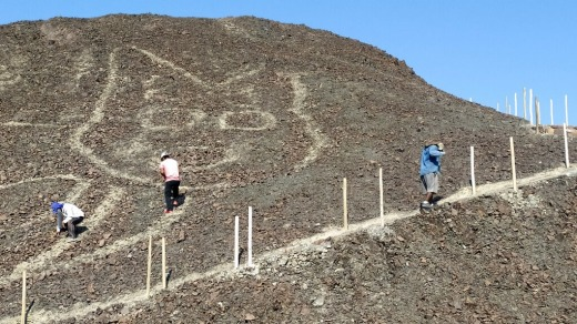 Peruvian archaeologists carrying out maintenance work in the renowned Nazca Lines geoglyphs site have discovered the ...