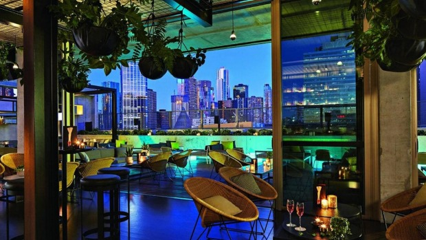 The rooftop bar at stylish QT Melbourne