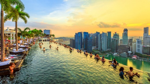 The famous Skypark infinity pool at Marina Bay Sands in Singapore.