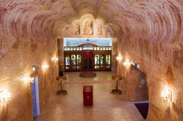 The Serbian Orthodox Church - one of five underground churches in the opal mining town of Coober Pedy, South Australia.