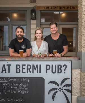 From left: Yannis, Lou and Luke at the Bermagui Beach Hotel.