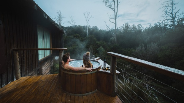 From your hot tub, enjoy a cool-climate wine against a backdrop of serious natural beauty.