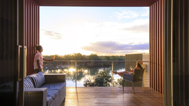 Settle back on the deck to soak up stunning Murray River views.