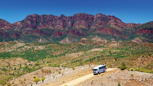 Touring the Flinders Ranges in APT's 4WD coach.