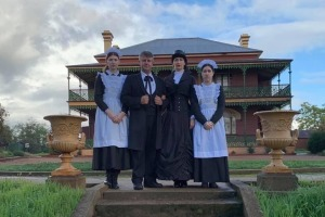 Lawrence Ryan and Silvia Heszterenyiova and their daughters at Monte Cristo Homestead.
