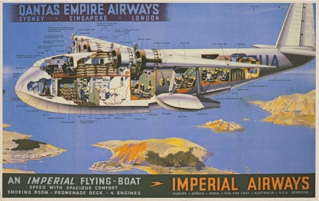 1930s: Empire Flying Boat poster, circa 1938.