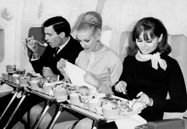 1960s: Food service on Boeing 707-138.
