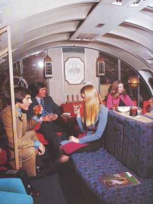 First Class Lounge on a Boeing 747, circa 1970s.