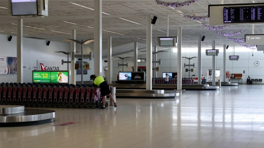 Adelaide Airport , deserted as the lockdown came into effect last week.