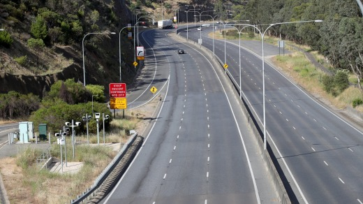 A major transport corridor from the Adelaide Hills is deserted.