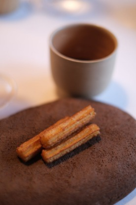 Churros with rabbit demi-glace