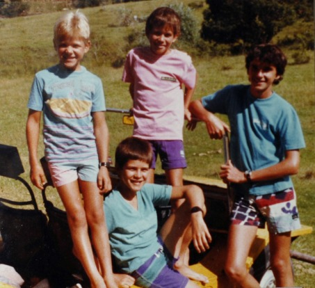 At the old farm with my brothers (I'm in pink) circa 1985.
