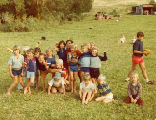 My brother Paul and his buddies at a birthday party at the old farm circa 1985.