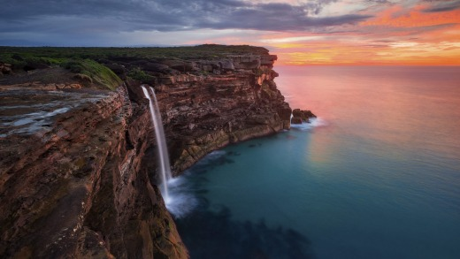 Sunrise at Curracurrong Falls and Eagle Rock in the Royal National Park.