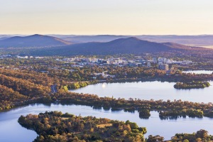 Aerial view of Canberra Central Business District with sunrise at Lake Burley Griffin Aerial view of Canberra Central ...
