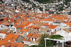 The red tile roofs of the city of Dubrovnik as seen from the town wall.