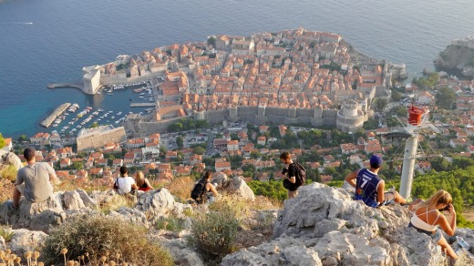 Overview of Dubrovnik from the lookout atop Mount Srd and the terminus of the cable car.