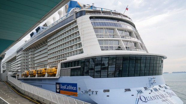 The Quantum of the Seas cruise ship docked at the Marina Bay Cruise Centre in Singapore on Wednesday.