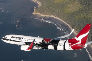 A flying tribute to Aboriginal culture: Qantas' 737 aircraft with Indigenous livery.