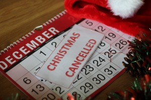 Christmas cancelled calendar, due to Covid-19 Coronavirus pandemic. Christmas cancelled