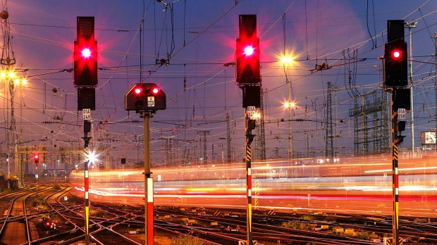 A train leaves the station in Frankfurt, Germany.