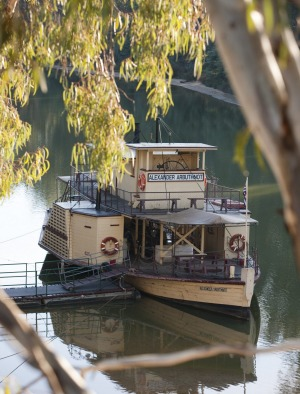 Paddle steamer PS Alexander Arbuthnot on the Murray River at Echuca.