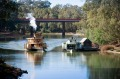 A Murry Paddle steamer comes in to Echuca Wharf.