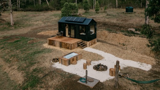 In the Byron hinterland, Unyoked has two new 'tiny home' wilderness cabins from $273 a night.