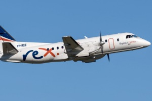 A Regional Express Airlines (REX) Saab 340 takes to the skies.