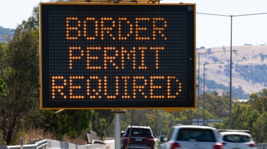 A sign warning of the border permit system at the NSW/Victoria border at Albury.