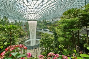 Supplied PR image for Traveller. Waterfall at Changi Airport Jewel