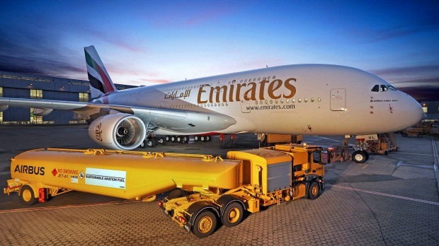 Emirates receives the first of three new Airbus A380s earlier this month.