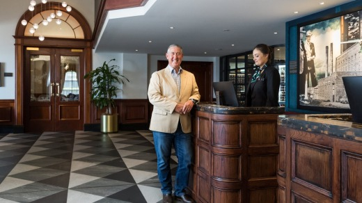Greg Maguire, owner of the Powerhouse Hotel Tamworth by Rydges, pictured in the lobby.
