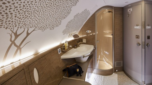 Emirates used the size of the A380 to create the world's first bathroom with a shower on board for first-class passengers.