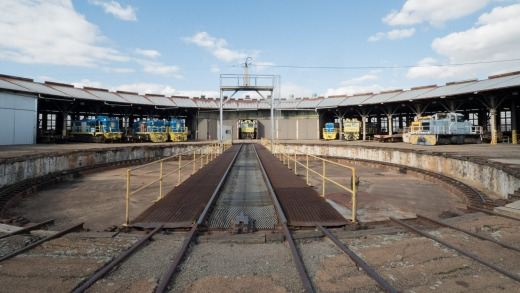 Forty-two covered repair bays fan out like spokes from a 30.5-metre turntable, which was the largest in the southern ...