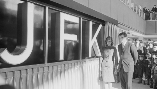 Senator Ted Kennedy and his sister Jean Smith stand next to a new JFK sign at the ceremony for the renaming of New York ...