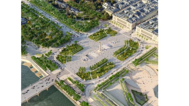 An architectural impression of the soon-to-be revamped Place de la Concorde in central Paris.