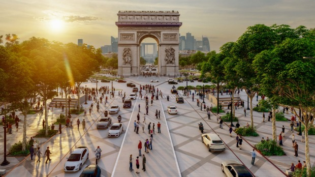 An architectural impression of a revamped Arc de Triomphe in central Paris, which will be redesigned as part of a major ...