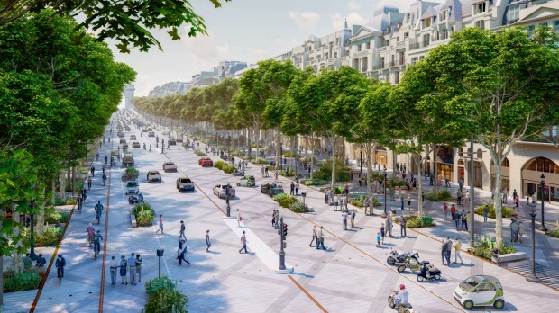 An architectural impression of a revamped Champs-Élysées.