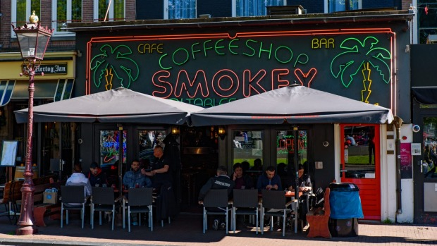 A coffeeshop at Rembrandtplein square in Amsterdam, Netherlands.