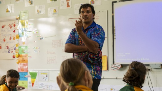 Juan Walker teaching students at Mossman State School the local Indigenous language. Walker also runs tour company ...