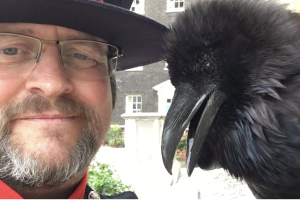 The Ravenmaster and Merlina in happier times.