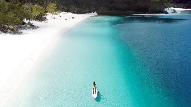 Stand up paddleboarding on Fraser Island's Lake Mackenzie.