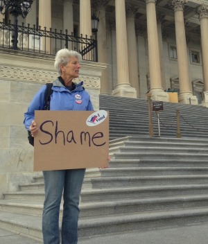 A loan protester during a peaceful protest outside the Capitol in 2017.