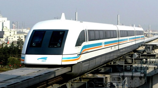 The Shanghai Maglev airport train hits a top speed of 431 km/h.