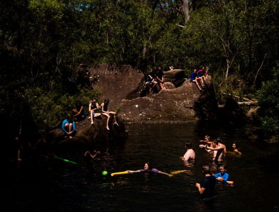 Taking a dip at Upper Gledhill Falls on McCarrs Creek in the Ku-Ring-Gai Chase National Park, Sydney.