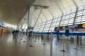 An empty departure hall of Terminal 3 at the Ben Gurion Airport.