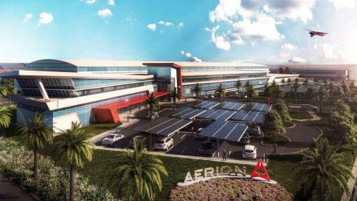 The design for Aerion's headquarters and manufacturing plant in Melbourne, Florida.